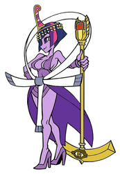 Size: 391x564 | Tagged: safe, twilight sparkle, alicorn, pony, egyptian, eliza, female, mare, palette swap, skullgirls, solo, twilight scepter, twilight sparkle (alicorn)