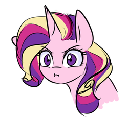 Size: 500x482 | Tagged: safe, artist:sugarberry, princess cadance, :i, alternate hairstyle, angry, female, solo