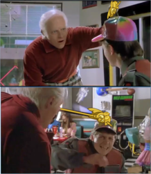 Size: 1085x1242   Tagged: safe, twilight sparkle, human, back to the future, back to the future part 2, biff tannen, hat, irl, irl human, marty mcfly, meme, michael j. fox, movie, photo, scepter, thomas f. wilson, twilight scepter, twilight sparkle (alicorn)