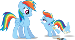 Size: 6603x3598 | Tagged: safe, artist:drewdini, rainbow dash, scootaloo, absurd resolution, paint, paint in hair, paint on feathers, paint on fur, painting characters, scootobsession, simple background, transparent background, vector
