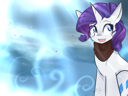 Size: 1193x895 | Tagged: safe, artist:sugarberry, rarity, pony, unicorn, clothes, cutie mark, female, flower petals, petals, scarf, solo