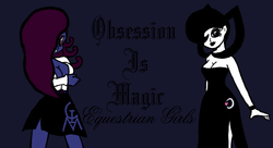 Size: 1280x694 | Tagged: safe, artist:thelordofdust, oc, oc only, oc:maneia, oc:nocturna, equestria girls, banner, obsession is magic