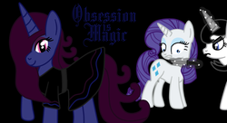 Size: 1024x557 | Tagged: safe, artist:thelordofdust, rarity, oc, oc:maneia, oc:nocturna, banner, fanfic, obsession is magic