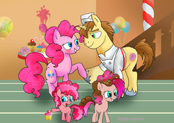 Size: 3341x2362 | Tagged: safe, artist:raggyrabbit94, donut joe, gummy, pinkie pie, female, male, offspring, parent:donut joe, parent:pinkie pie, parents:pinkiejoe, pinkiejoe, shipping, straight