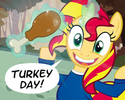 Size: 900x725 | Tagged: artist:pixelkitties, drumstick, faic, garbage day, magic, ponies eating meat, pony, safe, silent night deadly night, solo, sunset shimmer, thanksgiving, turkey