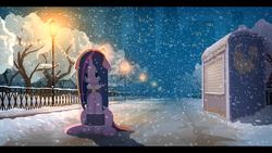 Size: 1920x1080 | Tagged: safe, artist:gign-3208, twilight sparkle, pony, :<, alternate hairstyle, cape, city, cloak, clothes, crying, evening, female, floppy ears, frown, leg warmers, looking down, night, sad, sitting, snow, snowfall, solo, tree, winter
