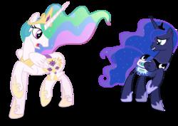 Size: 1792x1267   Tagged: safe, edit, princess celestia, princess luna, princess twilight sparkle (episode), implied discord, no tail, saddle bag