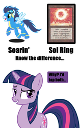 Size: 900x1430 | Tagged: safe, soarin', twilight sparkle, bedroom eyes, female, grin, know the difference, magic the gathering, male, meme, raised eyebrow, shipping, smiling, soarlight, sol ring, straight, text