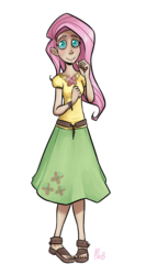 Size: 1100x2062   Tagged: safe, artist:mrbetsey, fluttershy, human, clothes, element of harmony, humanized, sandals, solo