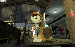 Size: 960x600 | Tagged: safe, artist:pinkie diane roosevelt phd, oc, oc only, oc:littlepip, duskull, pegasus, pony, unicorn, fallout equestria, 3d, clothes, cremator, description is relevant, fanfic, fanfic art, female, gmod, half-life, half-life 2, horn, magic, male, mare, nintendo, pokémon, telekinesis, vault suit, vortigaunt