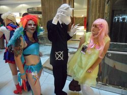 Size: 2000x1500 | Tagged: artist needed, safe, fluttershy, rainbow dash, human, clothes, convention, cosplay, dia de los muertos, dragoncon, dragoncon 2012, irl, irl human, photo, slendermane, slenderpony, suit