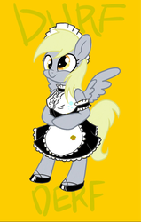 Size: 682x1073 | Tagged: artist needed, safe, derpy hooves, anthro, bipedal, breasts, clothes, costume, derp, female, maid, solo, story in the comments