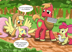 Size: 1200x868 | Tagged: safe, artist:empyu, apple bloom, applejack, big macintosh, fluttershy, chicken, earth pony, pegasus, pony, apple siblings, cleaver, crying, dialogue, eyes closed, female, filly, frown, imminent decapitation, implied ponies eating meat, male, mare, meat cleaver, mouth hold, open mouth, prone, restrained, scared, sitting, spread wings, stallion, struggling, text, thanksgiving, tongue out, tradition, wide eyes, wings, yelling