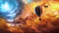 Size: 1920x1080   Tagged: safe, artist:rain-gear, oc, oc only, pegasus, pony, balloon, cloud, cloudy, cutie art crusaders, epic, flying, glow, hot air balloon, scenery, scenery porn, sky