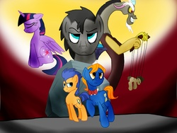 Size: 1024x768   Tagged: safe, artist:biosonic100, discord, doctor whooves, flash sentry, perfect pace, time turner, tom, twilight sparkle, alicorn, pony, ask discorded whooves, discord whooves, doctor who, female, mare, puppet, puppet strings, tardis, the doctor, the master, twilight sparkle (alicorn)