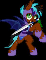 Size: 6000x7730   Tagged: safe, artist:mactavish1996, artist:moonlight-ki, oc, oc only, bat pony, pony, absurd resolution, armor, bipedal, simple background, solo, sword, transparent background, vector