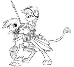 Size: 800x724 | Tagged: safe, artist:xioade, gilda, rainbow dash, griffon, black and white, bridle, cavalry, drawfag, grayscale, hat, history, islam, lance, monochrome, ponies riding griffons, reins, riding, russia, russian, saddle, soldier, stirrups, sword, tatar, turkic, warrior, weapon