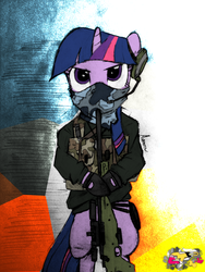 Size: 768x1024 | Tagged: safe, artist:evoraflux, twilight sparkle, pony, unicorn, arctic warfare, battlefield 3, bipedal, female, gun, hooves, horn, mare, optical sight, rifle, sniper rifle, solo, weapon