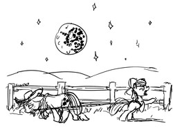 Size: 1472x1088 | Tagged: safe, artist:snapai, apple bloom, applejack, black and white, farm, fence, grayscale, lasso, mare in the moon, monochrome, moon, rope, tired