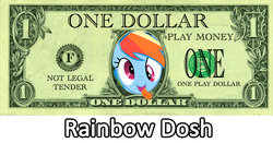 Size: 1358x713 | Tagged: derp, edit, image macro, money, pun, rainbow dash, rainbow dosh, safe, tongue out
