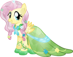 Size: 5500x4244 | Tagged: absurd res, artist:theshadowstone, clothes, crystallized, dress, fluttershy, gala dress, safe, simple background, solo, transparent background, vector