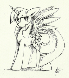 Size: 1419x1596 | Tagged: safe, artist:moonlightfl, twilight sparkle, alicorn, pony, black and white, female, grayscale, mare, monochrome, sketch, solo, traditional art, twilight sparkle (alicorn)