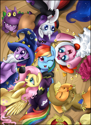 Size: 3578x4913 | Tagged: safe, artist:pridark, applejack, fluttershy, pinkie pie, princess luna, rainbow dash, rarity, spike, twilight sparkle, dragon, earth pony, pegasus, pony, unicorn, animal costume, candy, candy corn, chicken pie, chicken suit, clothes, costume, cute, dashabetes, diapinkes, eyes closed, featured image, female, grin, halloween, jackabetes, male, mane seven, mane six, mare, mouth hold, nightmare night, on back, open mouth, pony pile, raribetes, shyabetes, sleeping, smiling, spikabetes, squee, twiabetes, wink