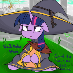Size: 1000x1000 | Tagged: safe, artist:wuzzlefluff, twilight sparkle, big hat logan, crossover, dark souls, drawfag, female, parody, solo