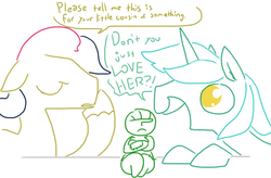 Size: 1030x676 | Tagged: artist:the weaver, bon bon, boy bon, dialogue, doll, guyra, lyra heartstrings, micro, my little human, oc, oc:femanon, rule 63, safe, simple background, sweetie drops, unamused, weaver you magnificent bastard, white background