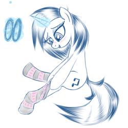 Size: 600x600 | Tagged: safe, artist:hudoyjnik, artist:synch-anon, dj pon-3, vinyl scratch, clothes, glasses, socks, solo, striped socks