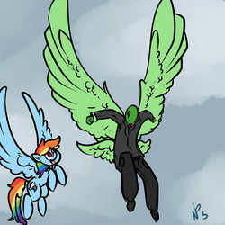 Size: 1280x1280 | Tagged: artist:whydomenhavenipples, butt wings, cute, flying, oc, oc:anon, open mouth, rainbow dash, safe, smiling, spread wings, wings