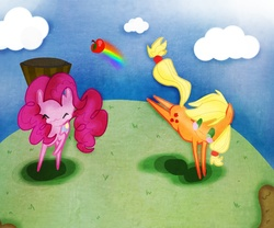 Size: 1200x1000 | Tagged: safe, artist:strabarybrick, applejack, pinkie pie, :3, apple, barrel, basket, bucket, bucking, cute, eyes closed, rainbow, raised hoof, smiling, working