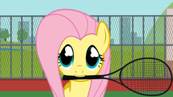 Size: 640x360   Tagged: safe, artist:agrol, fluttershy, mouth hold, solo, tennis, tennis racket