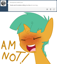 Size: 633x700 | Tagged: all caps, angry, artist:kryptchild, ask, ask glitter shell, blushing, eyes closed, glitter shell, rage, safe, scootaloo, snails, solo, tumblr, yelling