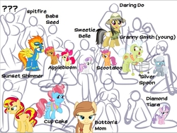 Size: 933x705   Tagged: safe, artist:jadenkaiba, apple bloom, babs seed, cup cake, daring do, diamond tiara, granny smith, scootaloo, silver spoon, spitfire, sunset shimmer, sweetie belle, oc, oc:cream heart, pony, breasts, busty apple bloom, busty babs seed, busty cmc, busty cream heart, busty cup cake, busty daring do, busty diamond tiara, busty granny smith, busty scootaloo, busty silver spoon, busty spitfire, busty sunset shimmer, busty sweetie belle, cutie mark crusaders, female, preview, simple background, vector, white background
