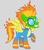 Size: 504x576 | Tagged: safe, artist:death-driver-5000, spitfire, pegasus, pony, clothes, female, goggles, grin, mare, raised hoof, smiling, solo, spitfire's hair is fire, the mask, uniform, wonderbolts uniform
