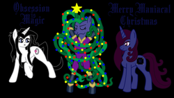 Size: 1024x576 | Tagged: safe, artist:thelordofdust, mane-iac, oc, oc:maneia, oc:nocturna, banner, christmas, christmas tree, hearth's warming, obsession is magic, power ponies oc