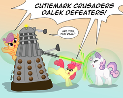 Size: 900x720 | Tagged: safe, artist:the_gneech, part of a set, apple bloom, scootaloo, sweetie belle, earth pony, pegasus, pony, unicorn, crossover, cutie mark crusaders, dalek, dialogue, doctor who, female, filly, force field, gradient background, magic, sweetie belle's magic brings a great big smile, this will end in tears, this will end in tears and/or death, this will end in tears and/or death and/or covered in tree sap, tree sap and pine needles