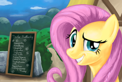 Size: 1800x1200 | Tagged: safe, artist:shade-os, fluttershy, alternative medicine, always works, doctor fluttershy, dreamworks face, female, grin, looking at you, menu, quack, raised eyebrow, smiling, solo