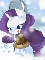 Size: 480x640 | Tagged: safe, artist:loyaldis, rarity, bipedal, clothes, snow, snowflake, solo