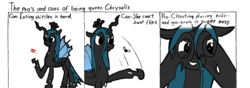 Size: 1338x470 | Tagged: safe, artist:livingpixel, queen chrysalis, comic, cyanide & happiness, skittles, solo