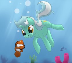 Size: 615x537 | Tagged: safe, artist:tenchi-outsuno, lyra heartstrings, fish, pony, unicorn, bubble, clownfish, coral, cute, female, lyrabetes, solo, swimming, underwater