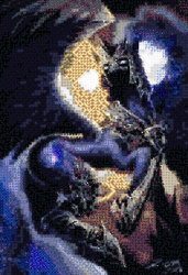 Size: 3250x4750 | Tagged: safe, artist:barbeque, artist:ziom05, nightmare moon, meta mosaic, mosaic, nightmare dupe, photomosaic