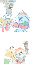 Size: 500x1000 | Tagged: safe, artist:norang94, applejack, discord, rainbow dash, and then discord was a man, appledash, clothes, cuckcord, discodash, female, hug, lesbian, lesbian in front of boys, male, scarf, shipping, straight