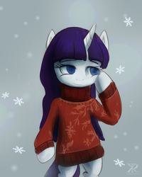 Size: 1024x1280 | Tagged: safe, artist:raikoh, rarity, pony, alternate hairstyle, bipedal, clothes, snow, snowflake, solo, sweater