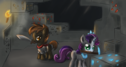 Size: 2700x1440 | Tagged: safe, artist:ardail, button mash, sweetie belle, earth pony, pony, unicorn, don't mine at night, cave, coal, colt, diamond, diamond ore, diamond pickaxe, female, filly, foal, gold, jewelry, male, minecraft, mining, mouth hold, pickaxe, redstone, sword, tiara, torch, underground
