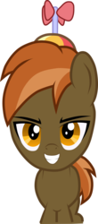 Size: 2393x5429 | Tagged: artist:topas-art, button mash, colt, earth pony, foal, hat, looking at you, male, mutton bash, pony, propeller hat, safe, simple background, solo, teeth, the fresh prince of mutton, transparent background, vector