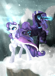 Size: 2000x2800 | Tagged: safe, artist:alicjaspring, nightmare rarity, rarity, pony, unicorn, cape, clothes, crown, duality, female, jewelry, magic, mare, regalia, smiling, snow, snowfall