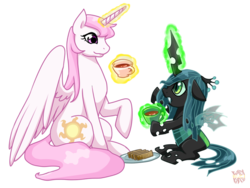 Size: 800x600 | Tagged: safe, artist:norang94, princess celestia, queen chrysalis, alicorn, changeling, changeling queen, nymph, pony, cewestia, crown, cute, cutealis, duo, duo female, female, filly, filly queen chrysalis, foal, jewelry, pink-mane celestia, princess chrysalis, regalia, signature, simple background, tea, tea party, teacup, teenager, transparent background, younger