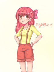Size: 600x800 | Tagged: apple bloom, artist:cosmicponye, human, humanized, light skin, safe, solo, suspenders